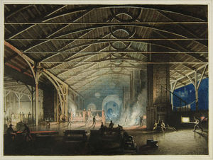 Penry Williams - Cyfarthfa Ironworks Interior At Night