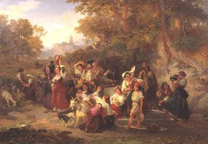 Penry Williams - Neapolitan Peasants At A Fountain -