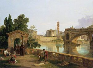 Penry Williams - The Tiber With The Temple Of Vesta, Santa Maria