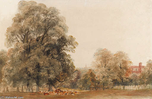 A Herd Of Deer Resting Beneath A Tree, Greenwich Park by Peter De Wint (1784-1849, United Kingdom) | Art Reproductions Peter De Wint | WahooArt.com