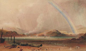 Peter De Wint - A Wooded Landscape With A Rainbow