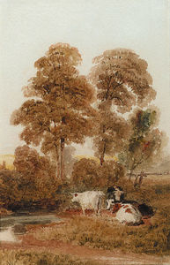 Peter De Wint - Cattle By A Stream In A Wooded Landscape, Near Cookham, Berkshire