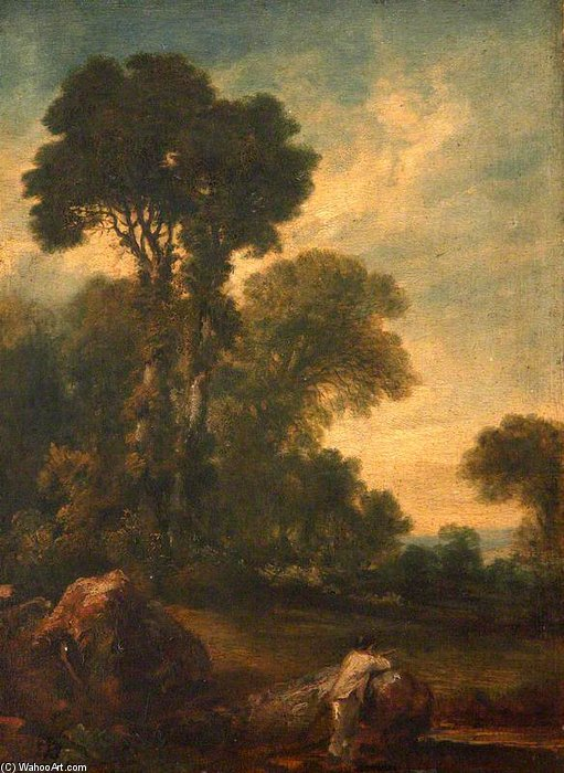 Farmhand Looking Out Over A Field With Trees by Peter De Wint (1784-1849, United Kingdom) | Reproductions Peter De Wint | WahooArt.com