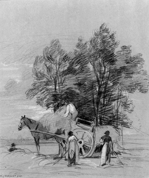 Figures Loading A Haycart, Beneath A Tree by Peter De Wint (1784-1849, United Kingdom) | Art Reproductions Peter De Wint | WahooArt.com