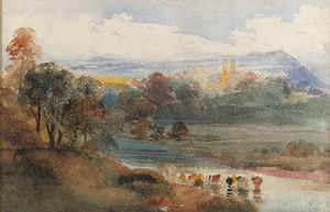 Peter De Wint - Great Mitton, Lancashire, From The Ribble, With Longridge Fell Beyond