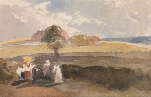 Peter De Wint - Landscape Sketch With Figures In Foreground
