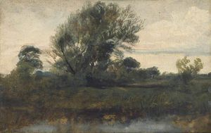 Peter De Wint - Landscape With Willow Tree