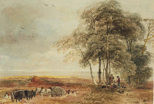 Peter De Wint - Men Working On The Lincolnshire Heathland