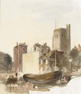 Peter De Wint - Moored Barges Near Lambeth Palace