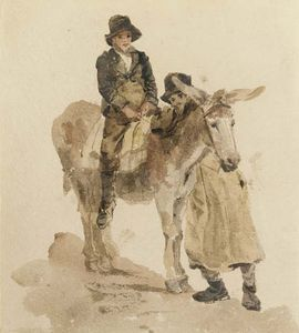 Peter De Wint - Two Boys With A Donkey