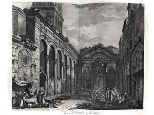 Order Paintings Reproductions | View Of The Peristyle Of The Palace Of Diocletian by Robert Adam (1728-1792, United Kingdom) | WahooArt.com