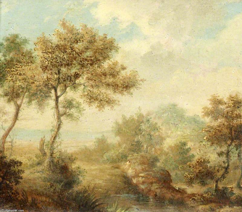 Landscape With A Small Pond In The Foreground by Samuel John Egbert Jones (1797-1861, United Kingdom) | Art Reproduction | WahooArt.com