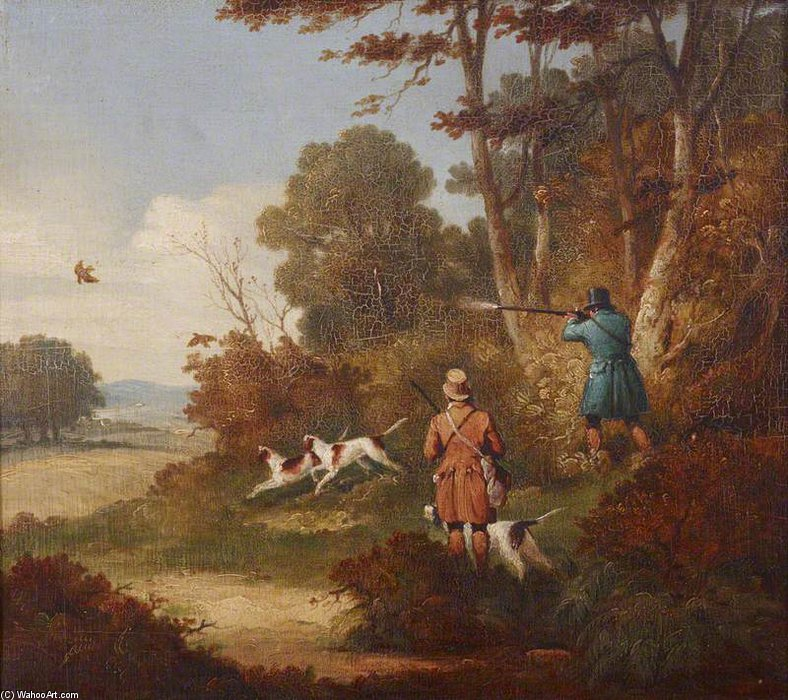 Woodcock-shooting - Two Men With Three Dogs by Samuel John Egbert Jones (1797-1861, United Kingdom)