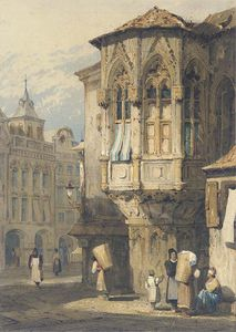Samuel Prout - A Continental Street Scene
