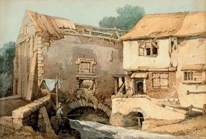Samuel Prout - Anglers Fishing Before A Derelict Watermill
