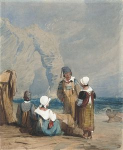 Samuel Prout - Figures By The Coast At Durdle Door, Dorset