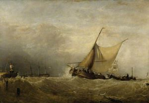 Augustus Wall Callcott - A Sea Piece, With A Dutch Fishing Boat Coming In, And Men Of War In The Distance