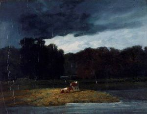 Augustus Wall Callcott - Landscape - A Wood And Cattle Under A Stormy Sky