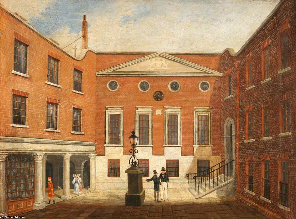 Order Museum Quality Reproductions : Apothecaries` Hall - The Courtyard by Thomas Hosmer Shepherd (1792-1864, United Kingdom) | WahooArt.com