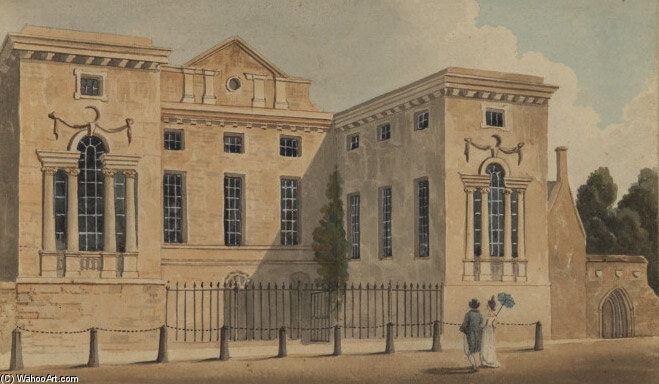 Entrance Front Of Worcester College, Oxford by Thomas Hosmer Shepherd (1792-1864, United Kingdom)