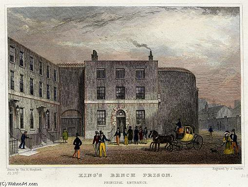 King's Bench Prison - Principal Entrance by Thomas Hosmer Shepherd (1792-1864, United Kingdom) | WahooArt.com