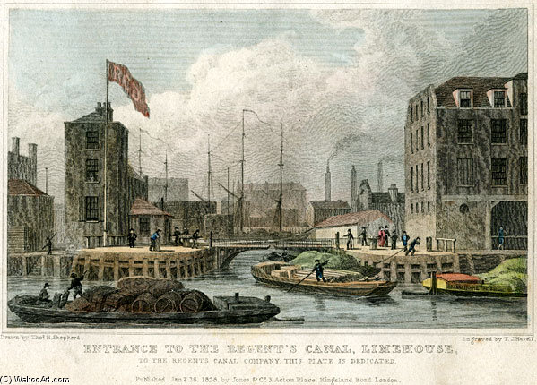 Regents Canal Dock by Thomas Hosmer Shepherd (1792-1864, United Kingdom) | WahooArt.com