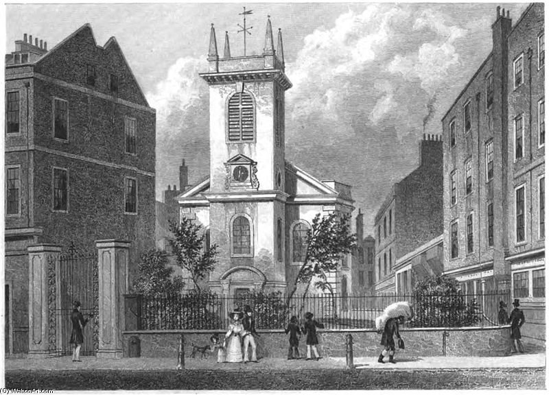 St Olave Old Jewry by Thomas Hosmer Shepherd (1792-1864, United Kingdom)