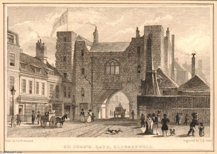 View Of The South Front Of The St John`s Gate Clerkenwell by Thomas Hosmer Shepherd (1792-1864, United Kingdom) | Oil Painting | WahooArt.com