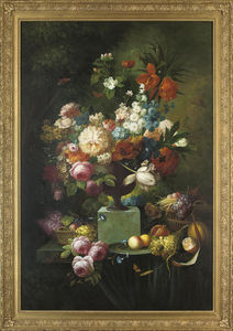 Thomas George Webster - Parrot Tulips, Chrysanthemums, Roses, Corn Flowers, Lilies And Narcissus In An Urn, With Fruit In Wicker Baskets And On A Platter To The Side, On A Stone Ledge