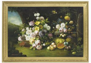 Thomas George Webster - Roses, Parrot Tulips, Plums, Pumpkins, And Butterflies In A Landscape