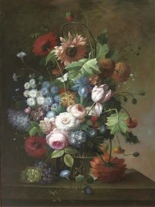 Thomas George Webster - Roses, Tulips, Daisies, Chrysanthemums And Other Flowers In A Glass Vase On A Stone Ledge
