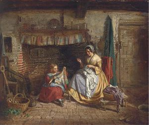 Thomas George Webster - The Sewing Lesson