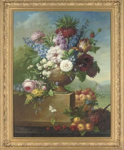 Thomas George Webster - Tulips, Peonies, Roses And Other Flowers In An Urn, An Extensive Landscape Beyond