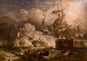 Adolphus Knell - A Painting Of The Battle Of Camperdown