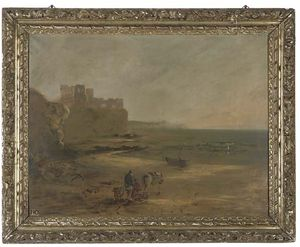 William Collins - Fisherfolk On A Beach, A Ruined Castle On A Cliff Top Beyond