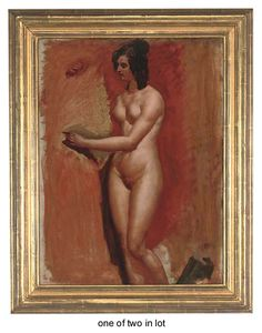 William Etty - A Male Nude Study; And A Female Nude Study