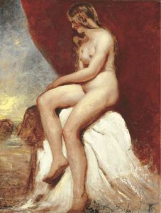 William Etty - Female Nude, Seated, With The Sea Beyond