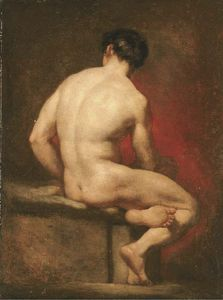 William Etty - Male Nude From Behind, Seated