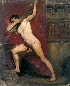 William Etty - Male Nude With Staff -