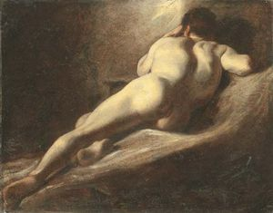 William Etty - Male Nude, From Behind, Reclining