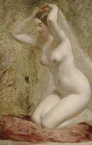 William Etty - Nude Woman Kneeling -