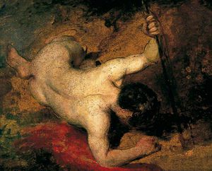 William Etty - Reclining Male Nude With Spear