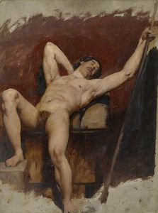 William Etty - Reclining Male Nude, Raised Right Knee