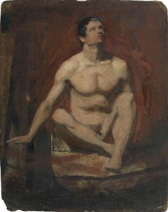 William Etty - Seated Male Nude, Frontal View