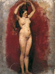 William Etty - Standing Female Nude Plaiting Her Hair