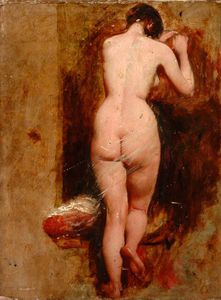 William Etty - Standing Female Nude, Back View