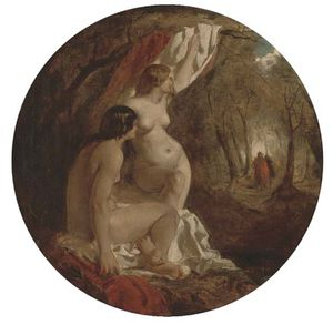 William Etty - Two Female Nudes In A Wood