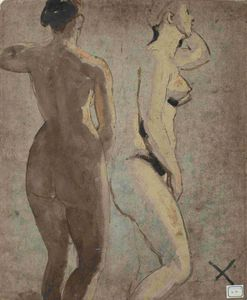William Etty - Two Standing Female Nudes