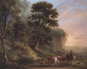 William Havell - Landscape With Peasants And Cattle