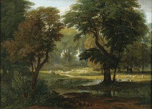 William Havell - Sheep And Horses Grazing Under Trees